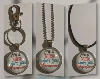 Nurse glass pendant on your choice of necklace or key chain