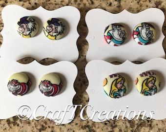 Disney's Alice in Wonderland Nickel Free Water Resistant Fabric Button Earrings