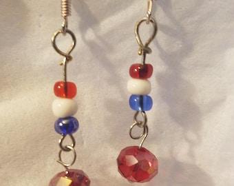 Patriotic Red, White, Blue Dangle Earrings