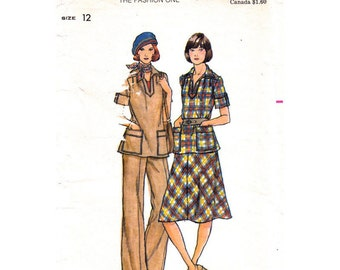 70s Top Skirt & Pants Pattern Butterick 4797 Tunic Top Flared Skirt Trousers Womens Bust 34 Vintage Sewing Pattern