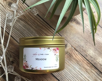 Meadow Gold Tin Soy Wax Candle + 8 oz Scented Soy Candle with Cotton Wick + Handpoured Gold Tin Candle