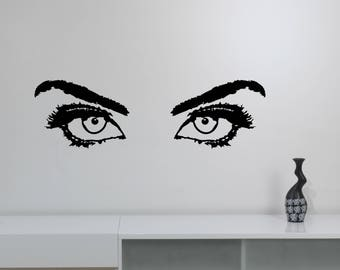 Girl Eyes Vinyl Decal Sexy Woman Art Hot Female Look Sticker Glamour Fashion Decorations for Home Make Up Beauty Salon Wall Decor wes3