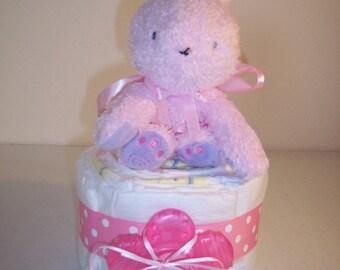 Pink Bunny Mini Diaper Cake