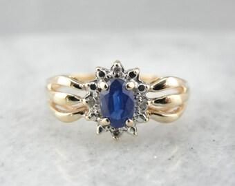 Modern Sapphire and Diamond Halo Dinner Ring JH22T5-P