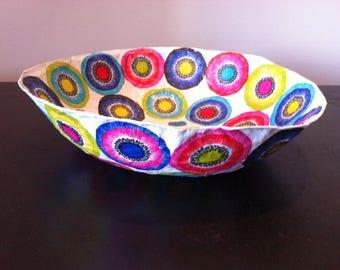 Paper mache Bowl - handmade - Decor colorful patterns.