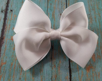 White Hair Bow, Medium White Hair Bow, Cute White Hair Bow, Cute White Bow, Toddler White Bow, Medium Toddler White Hair Bow
