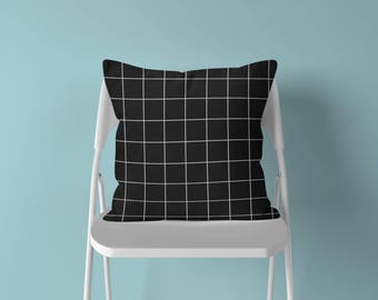 Grid Throw Pillow, Geometric Pillow, Black White Pillow, Grid Pillow, Modern Throw Pillow, Minimalist Pillow, Minimalist Decor, Grid Cushion