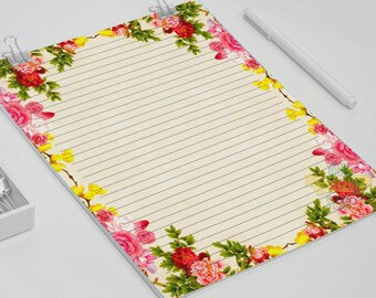 Floral writing paper, Letter size, A4, A5, carnation letter writing sheets, printable stationery set, letter paper and envelopes
