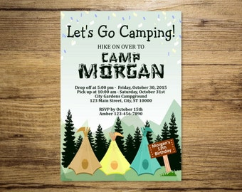 Camping Birthday Party Invitation, Camping Weekend, Mountains and Pine Trees Invitation, DIGITAL OR PRINTED