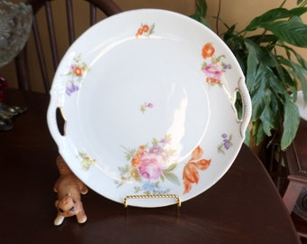 Vintage KPM Germany Reticulated Tab Handled Cake/Bakery/Cabinet Plate-White Multi Colored Floral Spray