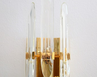 Brass and Glass Design Wall Sconce by Gaetano Sciolari Italy,  1960s, Hollywood Regency style