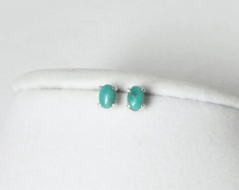 Genuine Turquoise - Turquoise Studs - Turquoise Earrings - Oval Studs