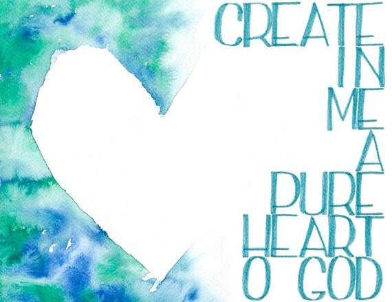 Crear un puro corazón Biblia letras Letras de la mano Salmo