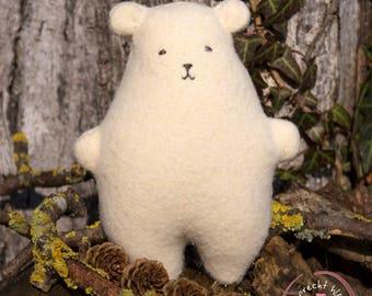 Bruno the Bear - Handmade Soft Toy - Stuffed Toy - Stuffed Bear - Wool Felt Animal - Teddy Bear Toy - Miniature Bear - Woodland Friend