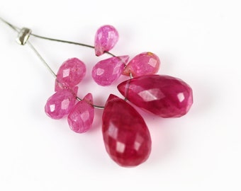 Pink Sapphire Beads - Briolettes - Sapphire Beads - Set of 8