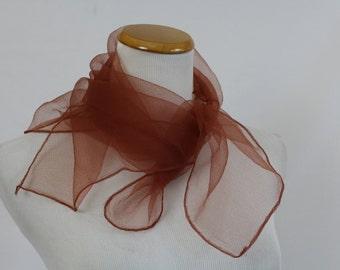 "Vintage 50's Cinnamon Cocoa Scarf Neck Wrap Sheer Nylon Chiffon 25"" x 25"" pinup rockabilly"
