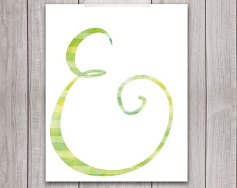 Ampersand Printable 8x10 - Printable Art, Ampersand Watercolor, Ampersand Print, Wedding Decor, Green, Wall Decor