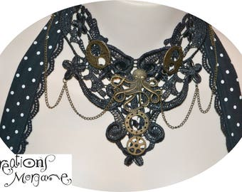 Lace choker gothic steampunk octopus necklace adjustable/ collier dentelle octopus goth ajustable