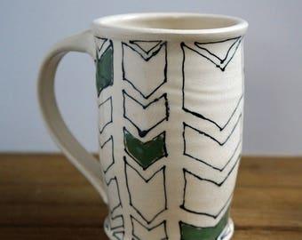 Large Chevron Pottery Mug - Ceramic Coffee Mug - Handmade Pottery Mug - Gift for Her - Gift for Him - House Warming Gift - Mother's Day Gift