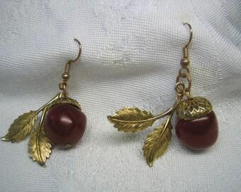 Vintage Pierced Cherry or Acorn Dangling Earrings