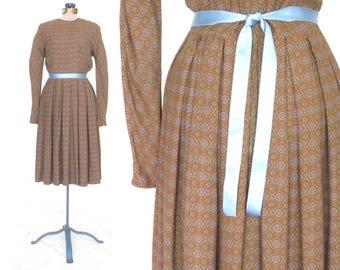vintage day dress * 50s dress * 1950s shirtwaist dress *  full skirt dress * xs