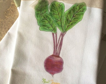 Beet Kitchen Towel Garden State New Jersey Cotton with State Option