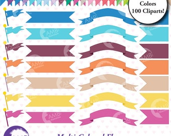 Banners CLIPART, flags clipart, bunting clipart, vector graphics, commercial use, digital clipart, instant download, AMB-303