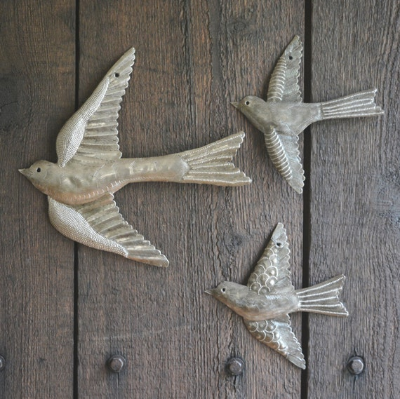 "Metal Birds, Handmade in Haiti, (set of 3) Garden Wall Art 11"" x 12"" and 6"" x 5.5"""
