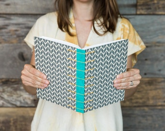 Handbound blank journal or sketchbook with gray chevron cover