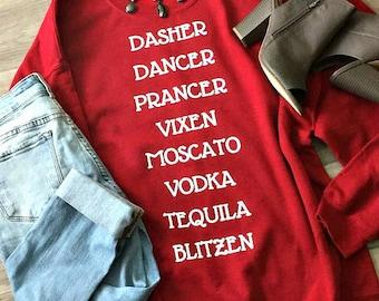 Blitzen - Sweatshirt, Women's, Reindeer, Vodka, Tequila, Moscato, Holiday, Drunk