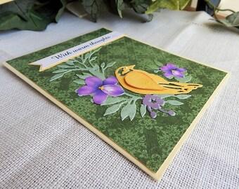 Handmade Sympathy Card: bird, yellow, greeting card, card, green, purple, sympathy, ooak, complete card, handmade, balsampondsdesign