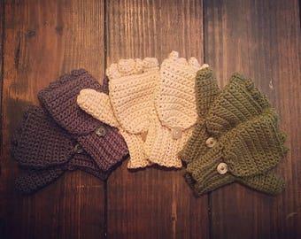 Crochet Fingerless Gloves with Mitten Flap Optional