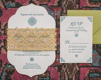 Die Cut Shaped Border Wedding Invitation, Bohemian and Moroccan Inspired, Laser Cut Gold Belly Band