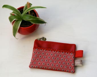 Wallet red fabric Asanoha