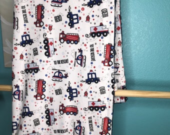 Minky Blanket Emergency Vehicles with Navy Marble backing