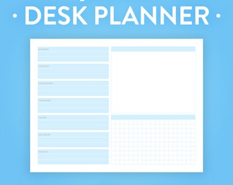 Weekly Desk Planner Printable - Instant Download - 8.5x11