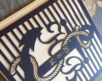 Laser Cut Wedding Invitations, Nautical Themed Wedding Invitations, Custom Personalized Anchor Invitations