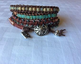 Turquoise Copper Boho Four Wrap Leather Bracelet