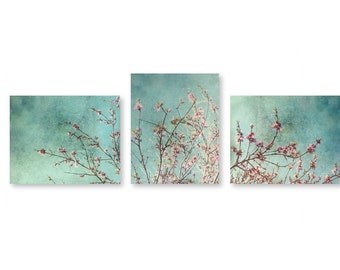 Turquoise Blue Green Sky Pink Peach Blossoms Branches Soft Nursery Decor Dreamy Flower Branch Cherry Blossoms Flower Blossoms on Branches