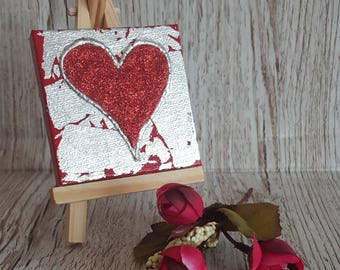 Silver Leaf Glitter Heart Canvas Art Original Artwork no. 2, mini canvas and easel