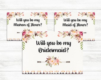 Will You Be My Bridesmaid, Maid of Honor, Matron of Honor Set, Floral Printable Bridesmaid Card Set Bridesmaid Proposal Card Matron of Honor