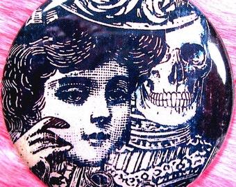 Pocket Mirror - Victorian - Skeleton - Femme Fatale