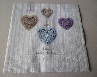 x 1 napkin vintage pattern heart 33 x 33 cm