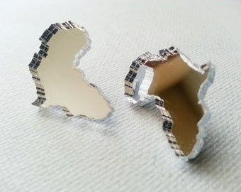 Africa Earrings - Africa Shaped Earrings - Africa Shaped Studs - Mirror Africa Earrings - Mirror Earrings