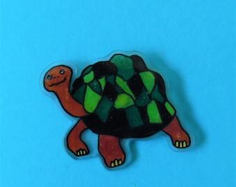 Tortoise pin badge. Cute fun handmade animal pin.