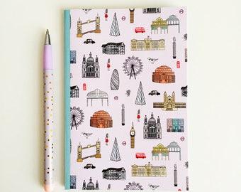 London Pocket Notebook - A6 Lined Notebook - Pocket Journal - Travel Notebook - London Journal - London Stationery - London Gift