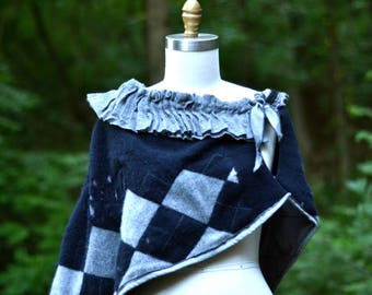 Cashmere tattered capelet, unique gray blue Poncho, OOAK warm cape, hippie boho bohemian, up cycled cashmere, grunge steampunk wrap