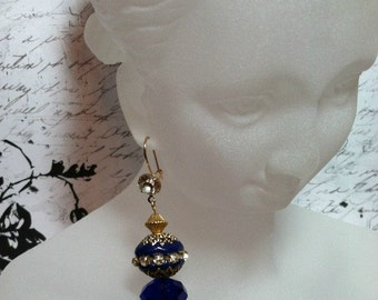 Kashmiri Bead Earrings OOAK - Bollywood Flair in Cobalt Blue and Gold with Rhinestones and Exotic Filigree Style Embellishments