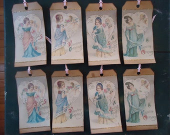 Eight Primitive Hand Made Vintage Look Victorian Girl Valentines Gift Hang Tags