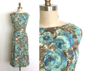 RESERVED vintage 1950s dress   50s rose print wiggle dress